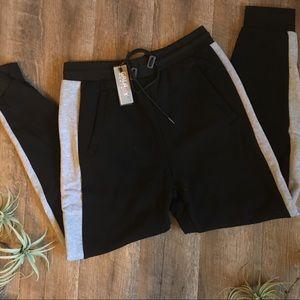 Jogger Sweatpants Cozy Comfy Black & Gray L